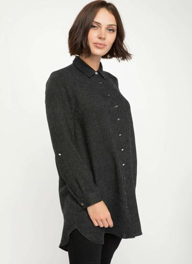DeFacto Yüksek Manşetli Gömlek Tunik Siyah